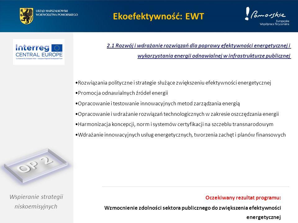 Wspieranie strategii niskoemisyjnych Rozwiązania polityczne i strategie służące zwiększeniu efektywności energetycznej Promocja odnawialnych źródeł en