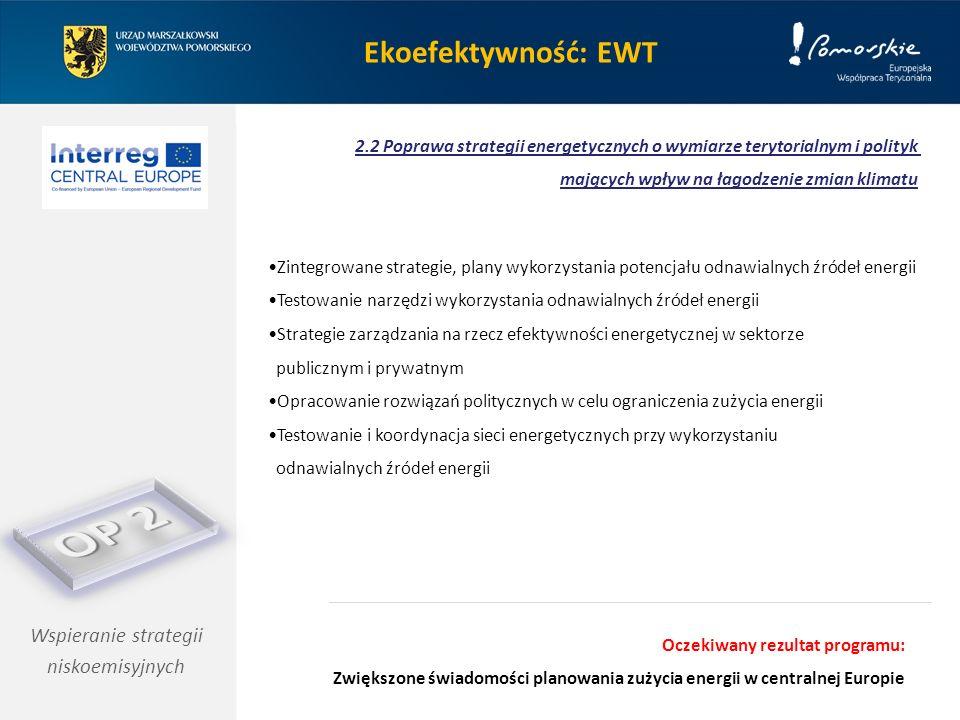 Ekoefektywność: EWT Wspieranie strategii niskoemisyjnych 2.2 Poprawa strategii energetycznych o wymiarze terytorialnym i polityk mających wpływ na łagodzenie zmian klimatu Zintegrowane strategie, plany wykorzystania potencjału odnawialnych źródeł energii Testowanie narzędzi wykorzystania odnawialnych źródeł energii Strategie zarządzania na rzecz efektywności energetycznej w sektorze publicznym i prywatnym Opracowanie rozwiązań politycznych w celu ograniczenia zużycia energii Testowanie i koordynacja sieci energetycznych przy wykorzystaniu odnawialnych źródeł energii Oczekiwany rezultat programu: Zwiększone świadomości planowania zużycia energii w centralnej Europie