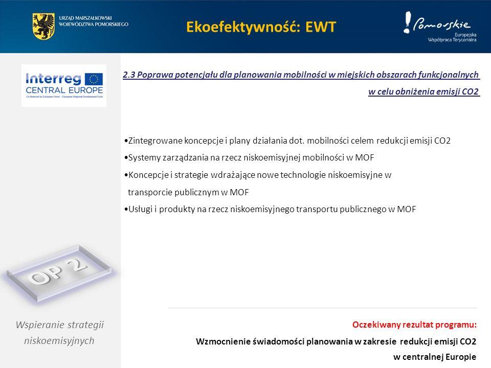 Ekoefektywność: EWT Wspieranie strategii niskoemisyjnych 2.3 Poprawa potencjału dla planowania mobilności w miejskich obszarach funkcjonalnych w celu