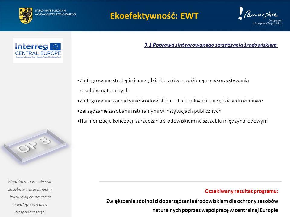 Ekoefektywność: EWT Zintegrowane strategie i narzędzia dla zrównoważonego wykorzystywania zasobów naturalnych Zintegrowane zarządzanie środowiskiem – technologie i narzędzia wdrożeniowe Zarządzanie zasobami naturalnymi w instytucjach publicznych Harmonizacja koncepcji zarządzania środowiskiem na szczeblu międzynarodowym 3.1 Poprawa zintegrowanego zarządzania środowiskiem Współpraca w zakresie zasobów naturalnych i kulturowych na rzecz trwałego wzrostu gospodarczego Oczekiwany rezultat programu: Zwiększenie zdolności do zarządzania środowiskiem dla ochrony zasobów naturalnych poprzez współpracę w centralnej Europie
