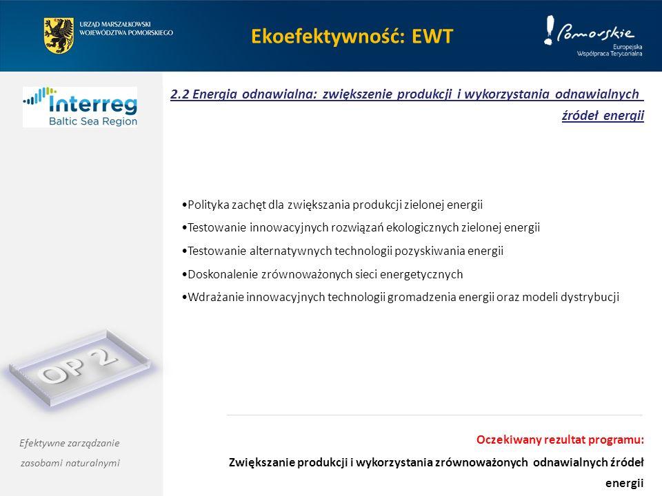 Ekoefektywność: EWT 2.2 Energia odnawialna: zwiększenie produkcji i wykorzystania odnawialnych źródeł energii Efektywne zarządzanie zasobami naturalnymi Polityka zachęt dla zwiększania produkcji zielonej energii Testowanie innowacyjnych rozwiązań ekologicznych zielonej energii Testowanie alternatywnych technologii pozyskiwania energii Doskonalenie zrównoważonych sieci energetycznych Wdrażanie innowacyjnych technologii gromadzenia energii oraz modeli dystrybucji Oczekiwany rezultat programu: Zwiększanie produkcji i wykorzystania zrównoważonych odnawialnych źródeł energii