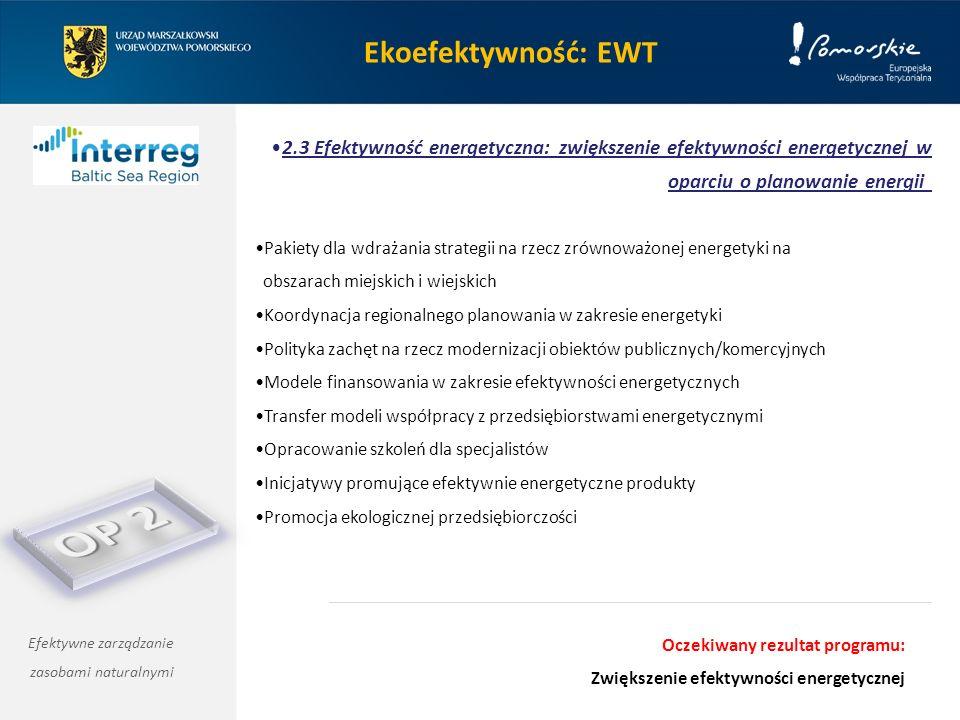 Ekoefektywność: EWT 2.3 Efektywność energetyczna: zwiększenie efektywności energetycznej w oparciu o planowanie energii Efektywne zarządzanie zasobami naturalnymi Pakiety dla wdrażania strategii na rzecz zrównoważonej energetyki na obszarach miejskich i wiejskich Koordynacja regionalnego planowania w zakresie energetyki Polityka zachęt na rzecz modernizacji obiektów publicznych/komercyjnych Modele finansowania w zakresie efektywności energetycznych Transfer modeli współpracy z przedsiębiorstwami energetycznymi Opracowanie szkoleń dla specjalistów Inicjatywy promujące efektywnie energetyczne produkty Promocja ekologicznej przedsiębiorczości Oczekiwany rezultat programu: Zwiększenie efektywności energetycznej