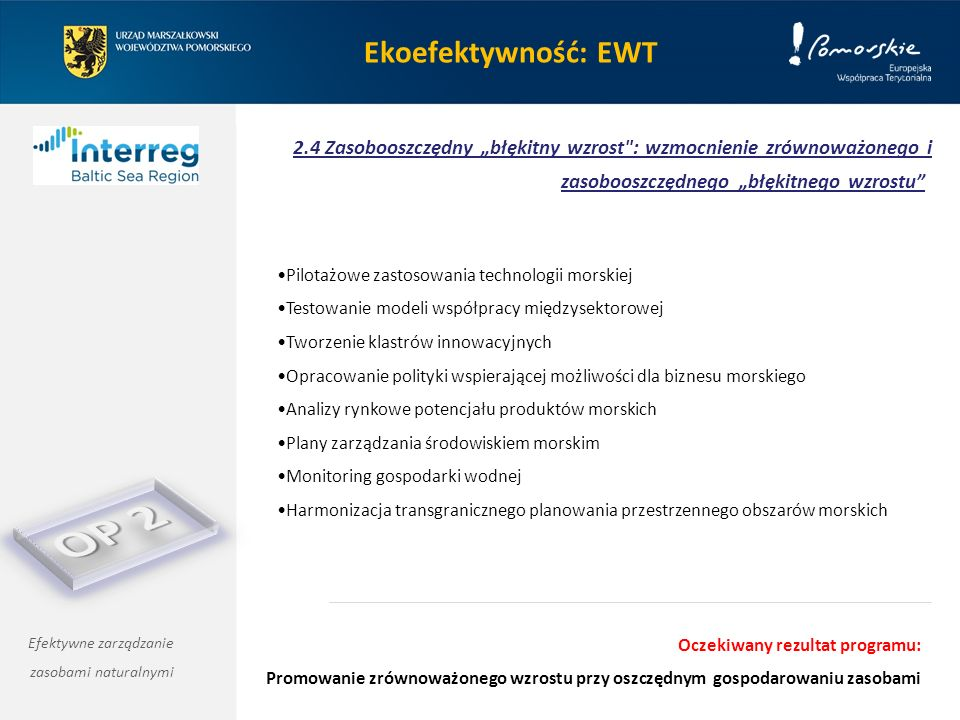 """Ekoefektywność: EWT 2.4 Zasobooszczędny """"błękitny wzrost : wzmocnienie zrównoważonego i zasobooszczędnego """"błękitnego wzrostu Efektywne zarządzanie zasobami naturalnymi Pilotażowe zastosowania technologii morskiej Testowanie modeli współpracy międzysektorowej Tworzenie klastrów innowacyjnych Opracowanie polityki wspierającej możliwości dla biznesu morskiego Analizy rynkowe potencjału produktów morskich Plany zarządzania środowiskiem morskim Monitoring gospodarki wodnej Harmonizacja transgranicznego planowania przestrzennego obszarów morskich Oczekiwany rezultat programu: Promowanie zrównoważonego wzrostu przy oszczędnym gospodarowaniu zasobami"""