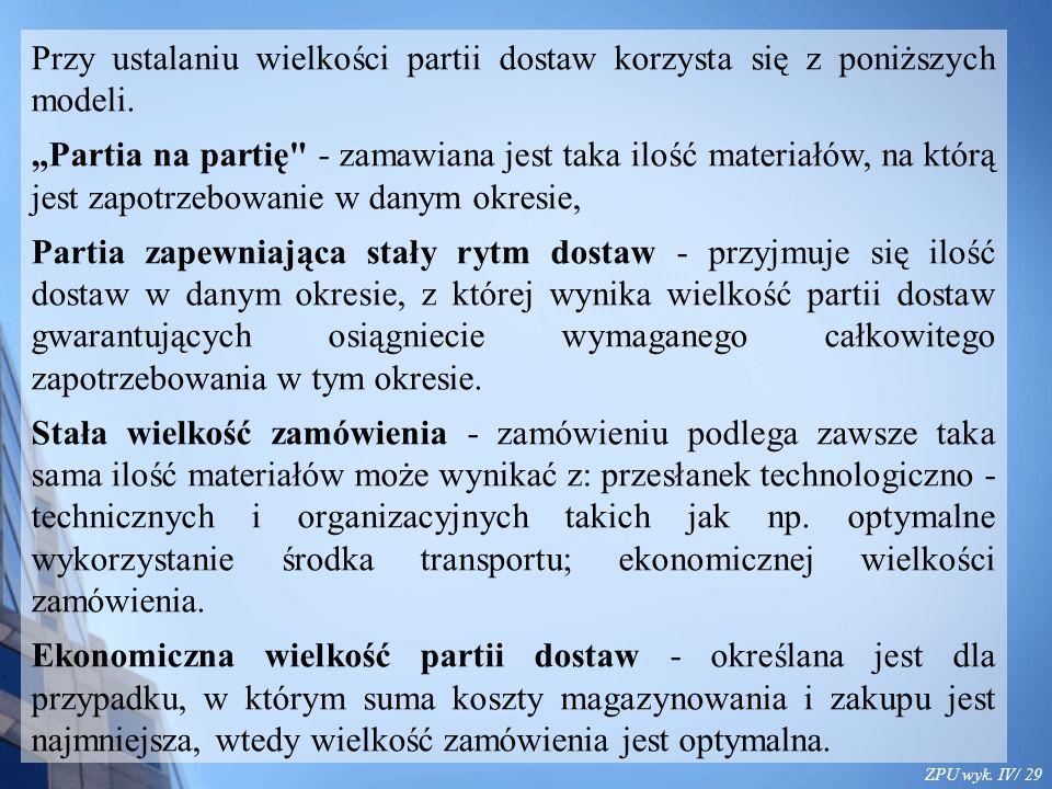 ZPU wyk. IV/ 29 Przy ustalaniu wielkości partii dostaw korzysta się z poniższych modeli.