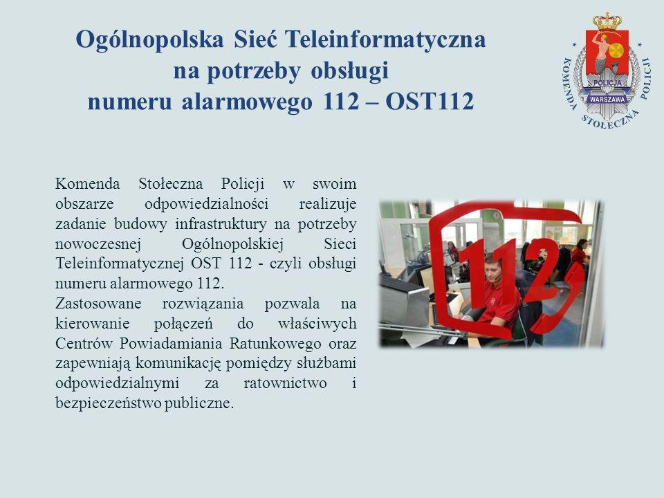 Ogólnopolska Sieć Teleinformatyczna na potrzeby obsługi numeru alarmowego 112 – OST112 Komenda Stołeczna Policji w swoim obszarze odpowiedzialności realizuje zadanie budowy infrastruktury na potrzeby nowoczesnej Ogólnopolskiej Sieci Teleinformatycznej OST 112 - czyli obsługi numeru alarmowego 112.
