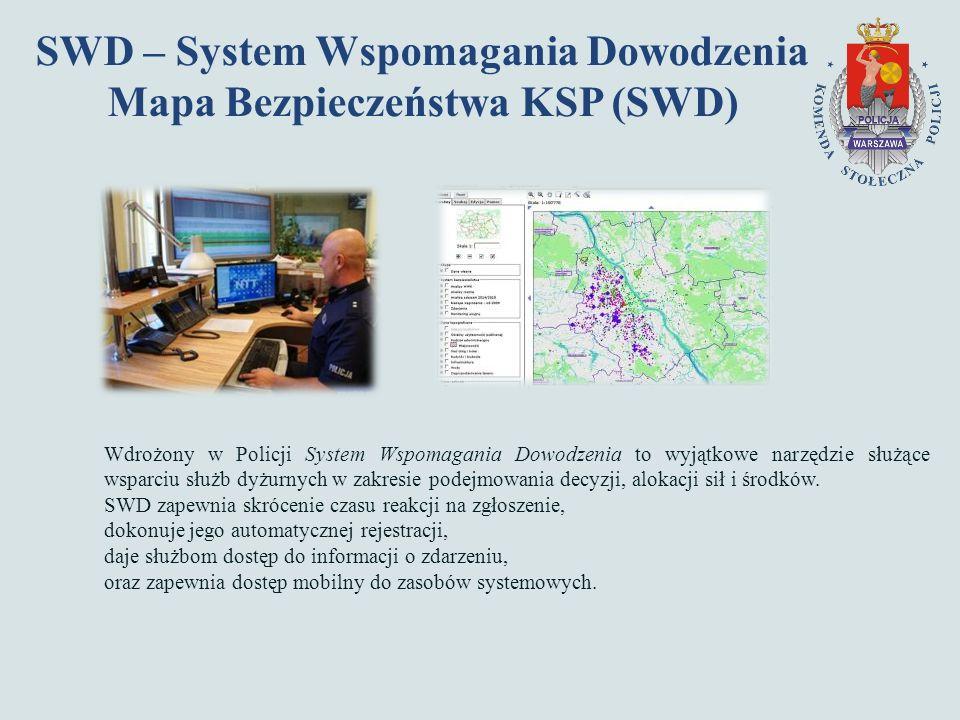SWD – System Wspomagania Dowodzenia Mapa Bezpieczeństwa KSP (SWD) Wdrożony w Policji System Wspomagania Dowodzenia to wyjątkowe narzędzie służące wsparciu służb dyżurnych w zakresie podejmowania decyzji, alokacji sił i środków.