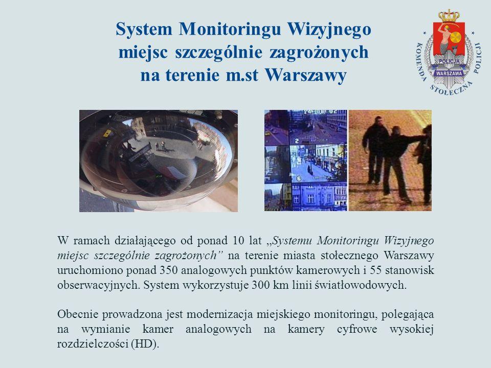"""System Monitoringu Wizyjnego miejsc szczególnie zagrożonych na terenie m.st Warszawy W ramach działającego od ponad 10 lat """"Systemu Monitoringu Wizyjnego miejsc szczególnie zagrożonych na terenie miasta stołecznego Warszawy uruchomiono ponad 350 analogowych punktów kamerowych i 55 stanowisk obserwacyjnych."""