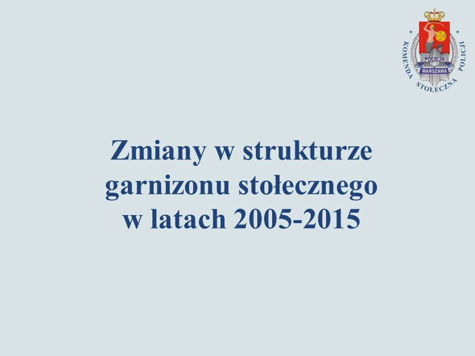 Zmiany w strukturze garnizonu stołecznego w latach 2005-2015