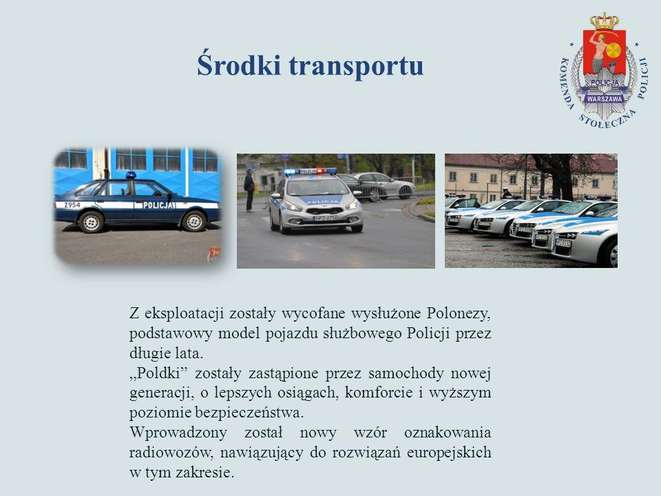 Środki transportu Z eksploatacji zostały wycofane wysłużone Polonezy, podstawowy model pojazdu służbowego Policji przez długie lata.
