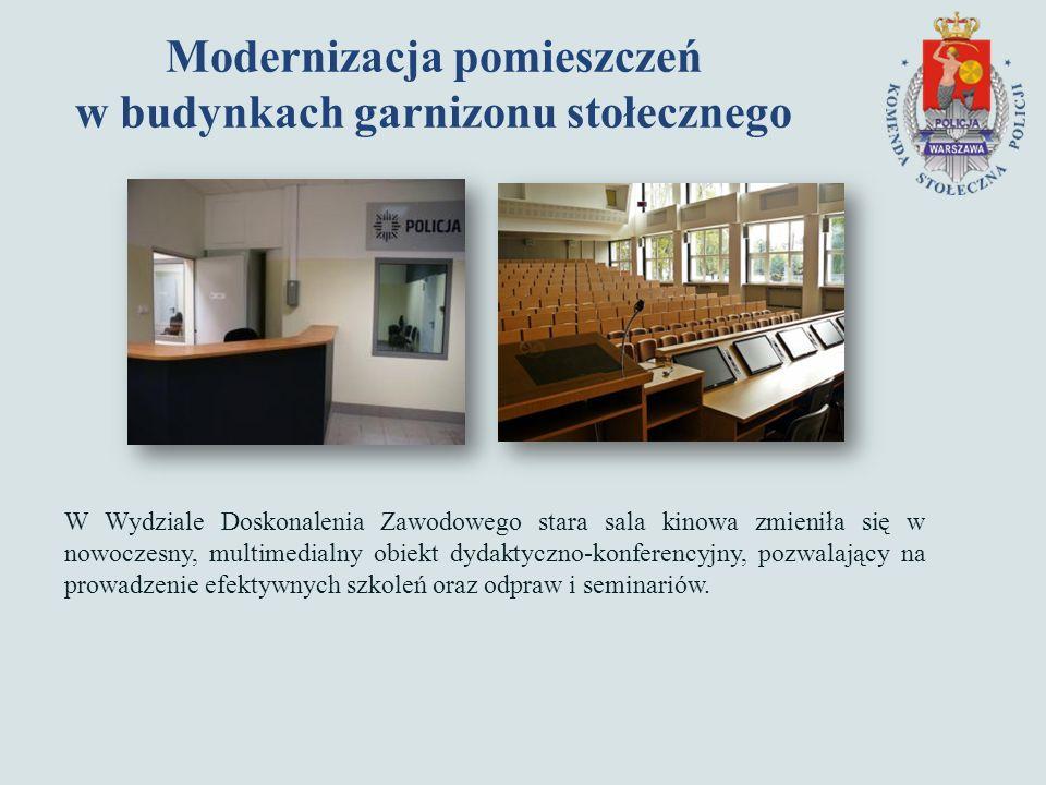 Modernizacja pomieszczeń w budynkach garnizonu stołecznego W Wydziale Doskonalenia Zawodowego stara sala kinowa zmieniła się w nowoczesny, multimedialny obiekt dydaktyczno-konferencyjny, pozwalający na prowadzenie efektywnych szkoleń oraz odpraw i seminariów.