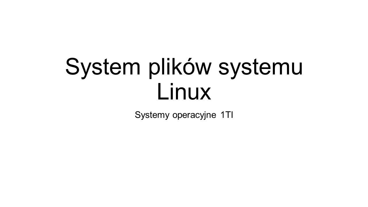System plików systemu Linux Systemy operacyjne 1TI