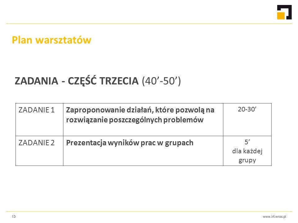 www.irt.wroc.pl13 ZADANIE 1Zaproponowanie działań, które pozwolą na rozwiązanie poszczególnych problemów 20-30' ZADANIE 2Prezentacja wyników prac w grupach 5' dla każdej grupy Plan warsztatów ZADANIA - CZĘŚĆ TRZECIA (40'-50')