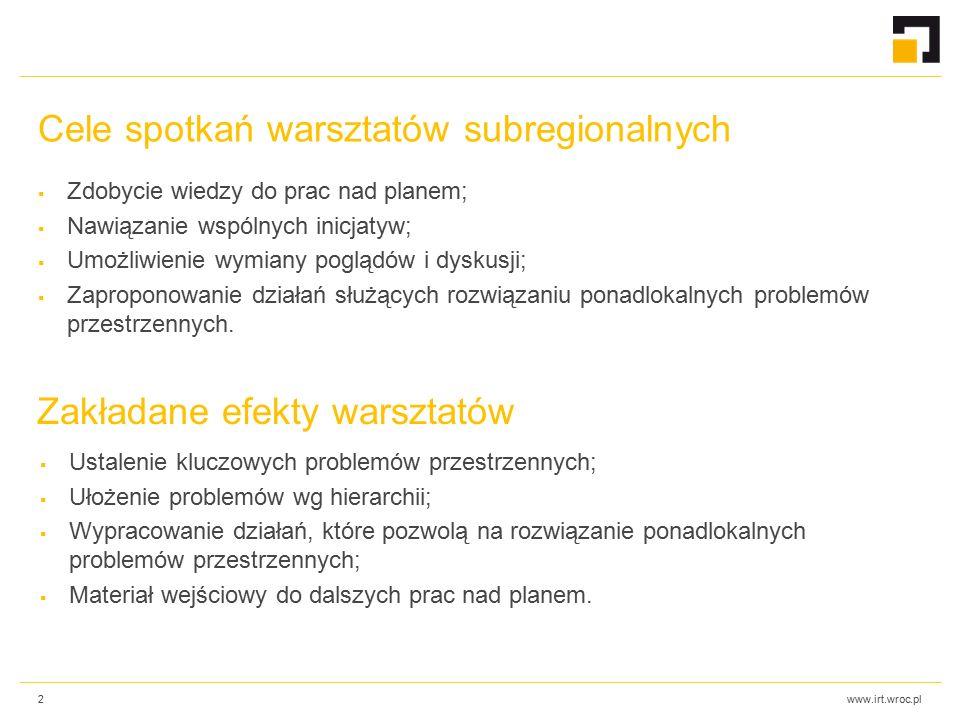 www.irt.wroc.pl Cele spotkań warsztatów subregionalnych  Zdobycie wiedzy do prac nad planem;  Nawiązanie wspólnych inicjatyw;  Umożliwienie wymiany poglądów i dyskusji;  Zaproponowanie działań służących rozwiązaniu ponadlokalnych problemów przestrzennych.