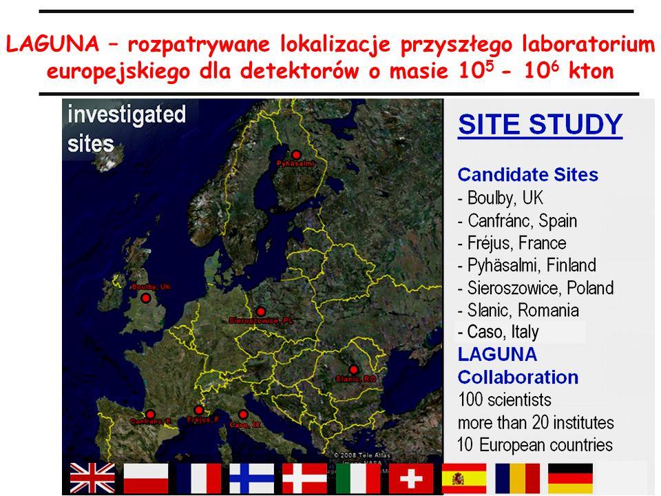 37 M.TurałaASPERA Polish National Day, 22.04.2009 LAGUNA – rozpatrywane lokalizacje przyszłego laboratorium europejskiego dla detektorów o masie 10 5 - 10 6 kton