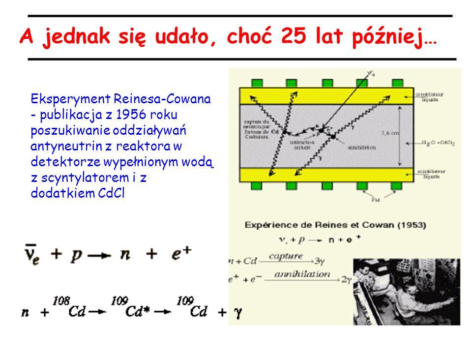 A jednak się udało, choć 25 lat później… Eksperyment Reinesa-Cowana - publikacja z 1956 roku poszukiwanie oddziaływań antyneutrin z reaktora w detektorze wypełnionym wodą z scyntylatorem i z dodatkiem CdCl