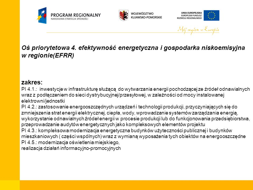Oś priorytetowa 4. efektywność energetyczna i gospodarka niskoemisyjna w regionie(EFRR) zakres: PI 4.1.: inwestycje w infrastrukturę służącą do wytwar