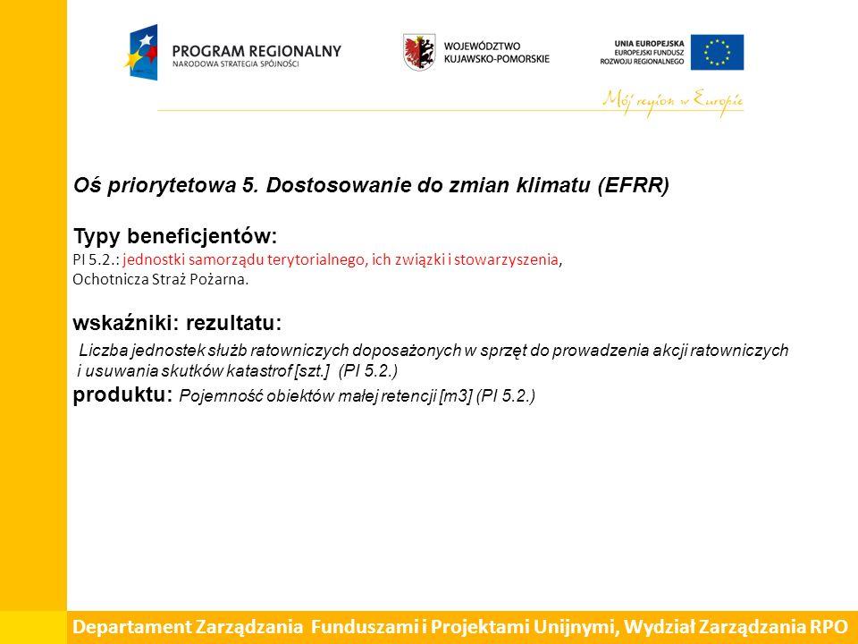 Oś priorytetowa 5. Dostosowanie do zmian klimatu (EFRR) Typy beneficjentów: PI 5.2.: jednostki samorządu terytorialnego, ich związki i stowarzyszenia,