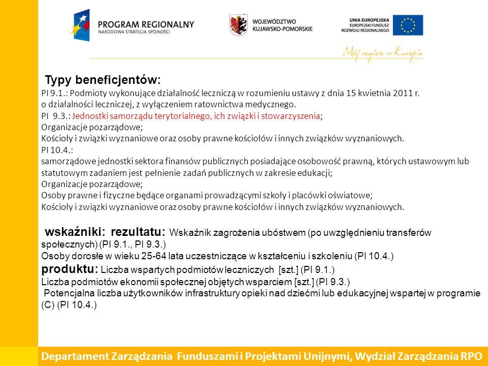 Typy beneficjentów: PI 9.1.: Podmioty wykonujące działalność leczniczą w rozumieniu ustawy z dnia 15 kwietnia 2011 r. o działalności leczniczej, z wył