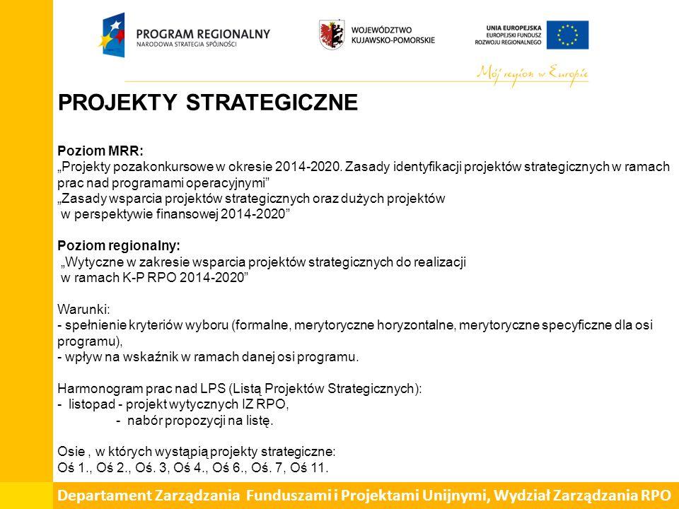 """PROJEKTY STRATEGICZNE Poziom MRR: """"Projekty pozakonkursowe w okresie 2014-2020."""