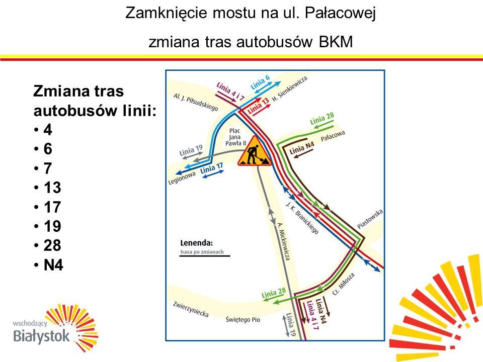 zmiana tras autobusów BKM Zmiana tras autobusów linii: 4 6 7 13 17 19 28 N4