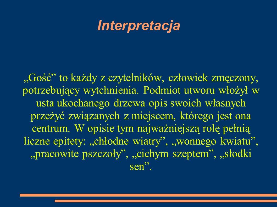 """Interpretacja """"Gość to każdy z czytelników, człowiek zmęczony, potrzebujący wytchnienia."""