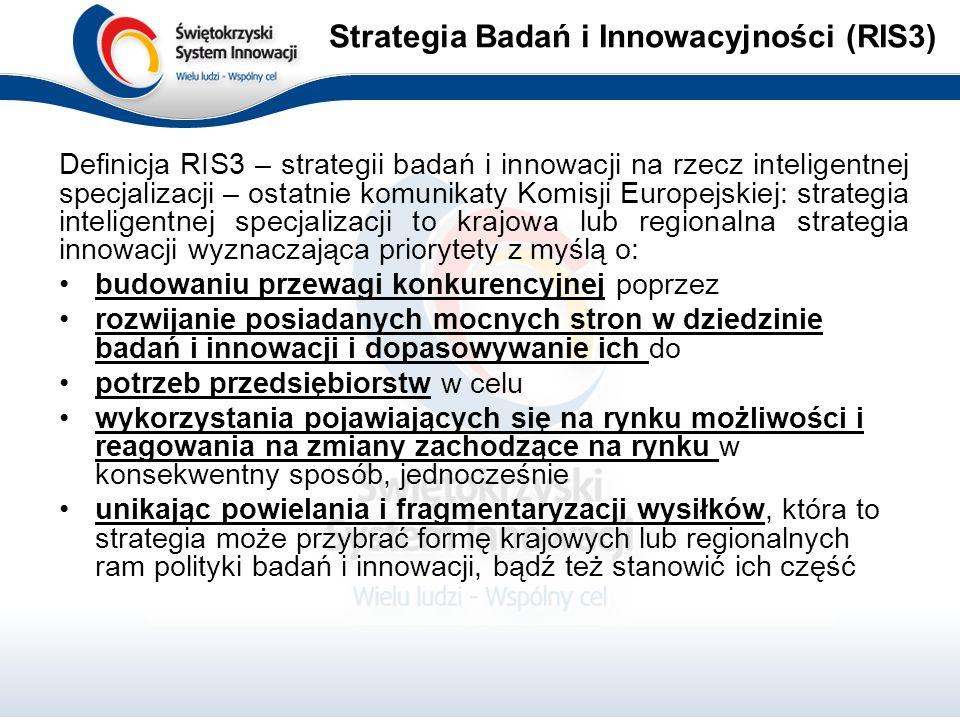 Definicja RIS3 – strategii badań i innowacji na rzecz inteligentnej specjalizacji – ostatnie komunikaty Komisji Europejskiej: strategia inteligentnej specjalizacji to krajowa lub regionalna strategia innowacji wyznaczająca priorytety z myślą o: budowaniu przewagi konkurencyjnej poprzez rozwijanie posiadanych mocnych stron w dziedzinie badań i innowacji i dopasowywanie ich do potrzeb przedsiębiorstw w celu wykorzystania pojawiających się na rynku możliwości i reagowania na zmiany zachodzące na rynku w konsekwentny sposób, jednocześnie unikając powielania i fragmentaryzacji wysiłków, która to strategia może przybrać formę krajowych lub regionalnych ram polityki badań i innowacji, bądź też stanowić ich część Strategia Badań i Innowacyjności (RIS3)
