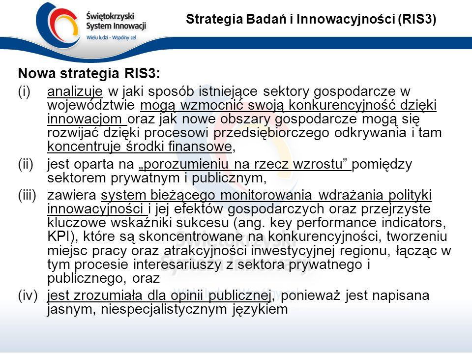 """Nowa strategia RIS3: (i)analizuje w jaki sposób istniejące sektory gospodarcze w województwie mogą wzmocnić swoją konkurencyjność dzięki innowacjom oraz jak nowe obszary gospodarcze mogą się rozwijać dzięki procesowi przedsiębiorczego odkrywania i tam koncentruje środki finansowe, (ii)jest oparta na """"porozumieniu na rzecz wzrostu pomiędzy sektorem prywatnym i publicznym, (iii)zawiera system bieżącego monitorowania wdrażania polityki innowacyjności i jej efektów gospodarczych oraz przejrzyste kluczowe wskaźniki sukcesu (ang."""