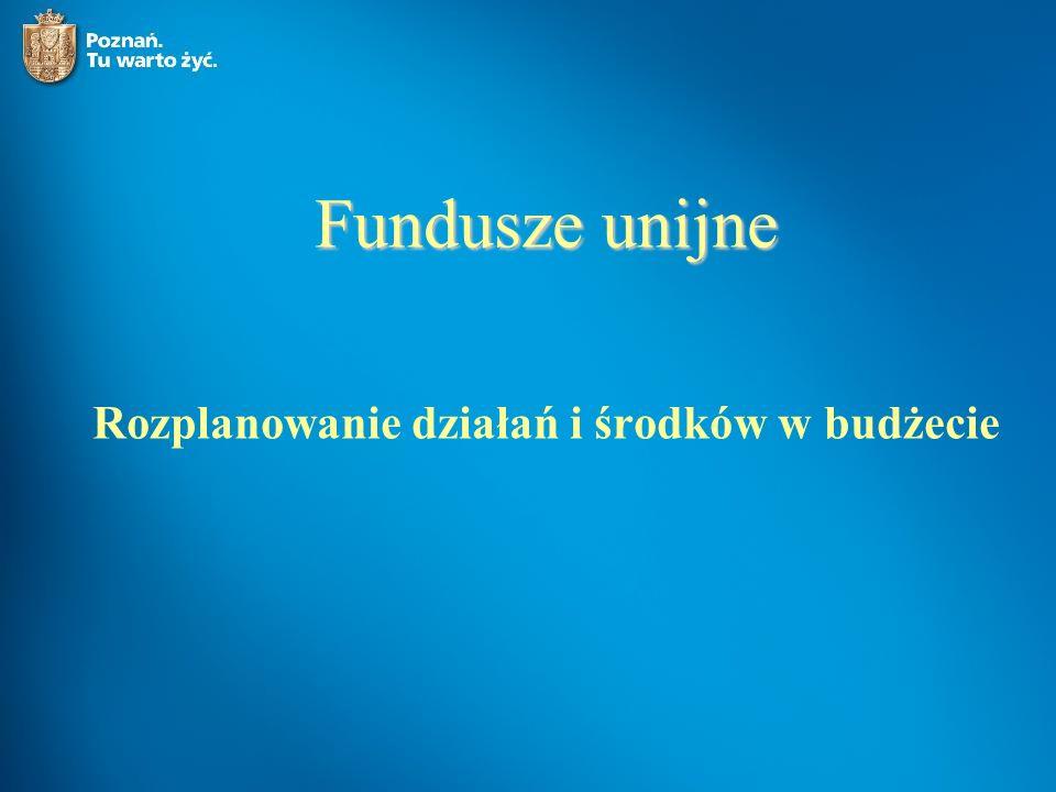 Fundusze unijne Rozplanowanie działań i środków w budżecie