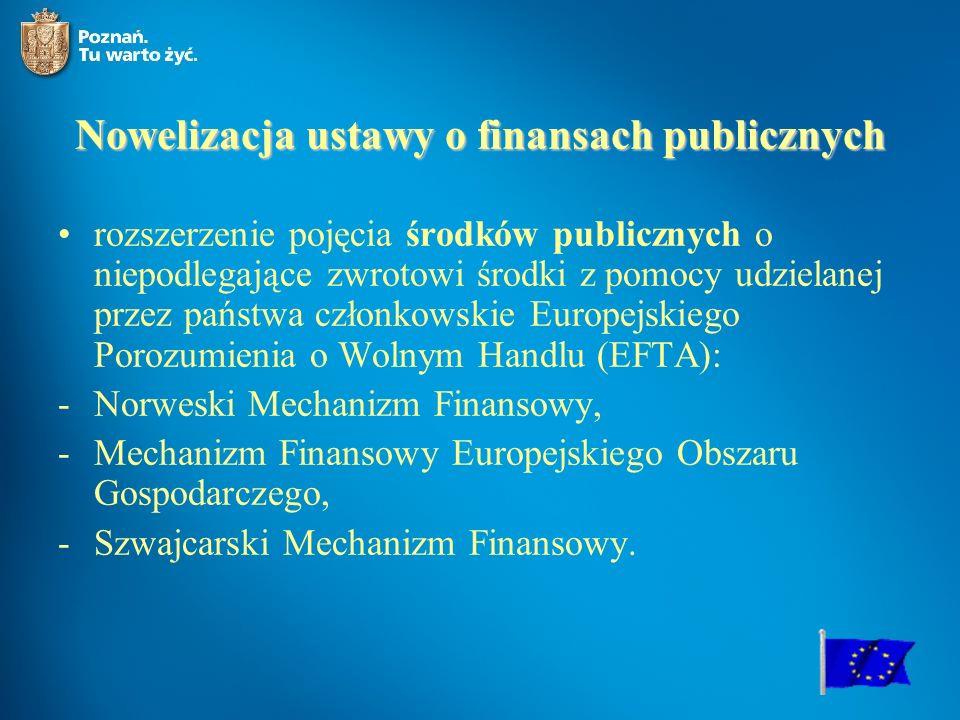 Nowelizacja ustawy o finansach publicznych rozszerzenie pojęcia środków publicznych o niepodlegające zwrotowi środki z pomocy udzielanej przez państwa członkowskie Europejskiego Porozumienia o Wolnym Handlu (EFTA): -Norweski Mechanizm Finansowy, -Mechanizm Finansowy Europejskiego Obszaru Gospodarczego, -Szwajcarski Mechanizm Finansowy.