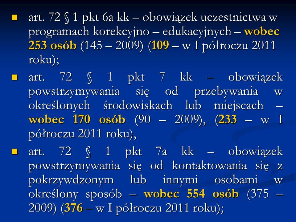 art. 72 § 1 pkt 6a kk – obowiązek uczestnictwa w programach korekcyjno – edukacyjnych – wobec 253 osób (145 – 2009) (109 – w I półroczu 2011 roku); ar