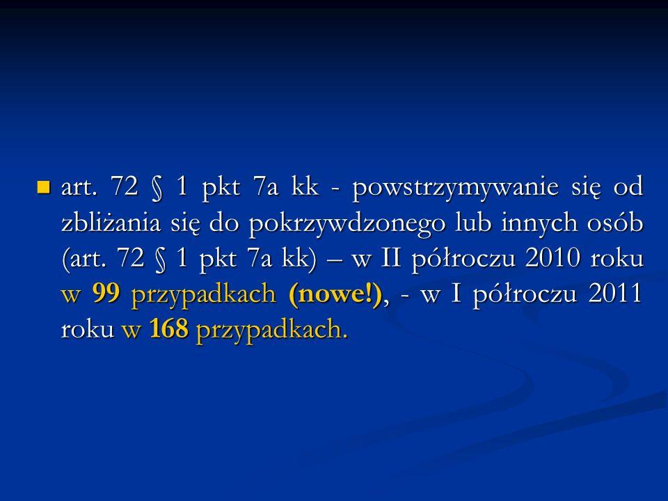 art. 72 § 1 pkt 7a kk - powstrzymywanie się od zbliżania się do pokrzywdzonego lub innych osób (art. 72 § 1 pkt 7a kk) – w II półroczu 2010 roku w 99