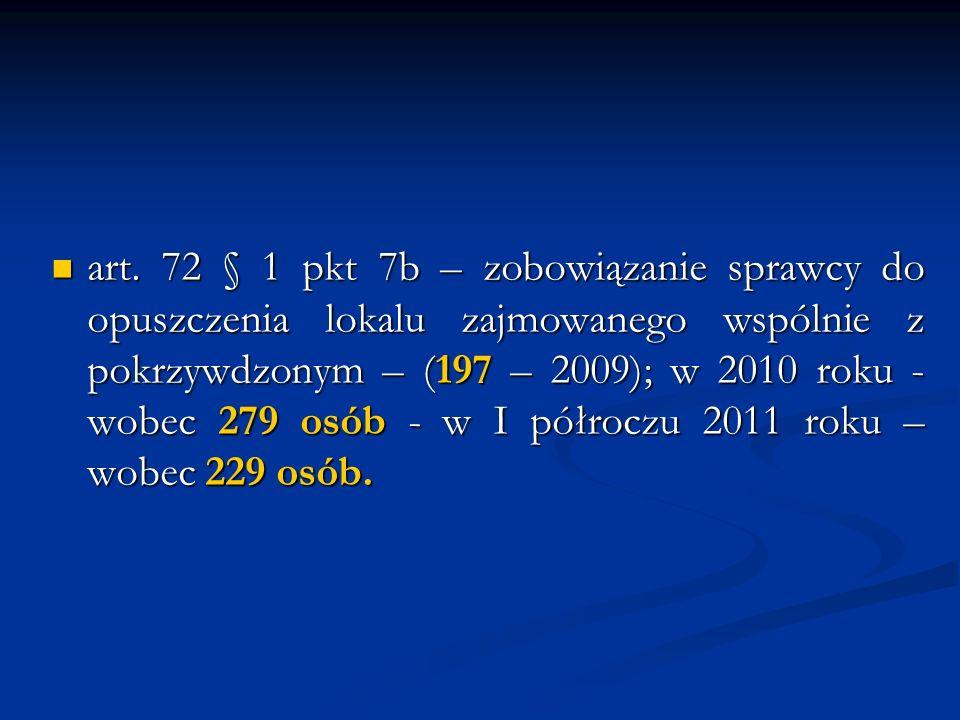 art. 72 § 1 pkt 7b – zobowiązanie sprawcy do opuszczenia lokalu zajmowanego wspólnie z pokrzywdzonym – (197 – 2009); w 2010 roku - wobec 279 osób - w