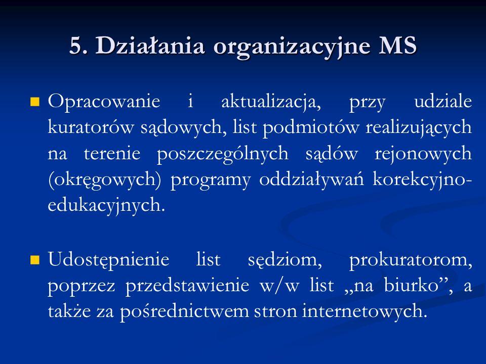 5. Działania organizacyjne MS Opracowanie i aktualizacja, przy udziale kuratorów sądowych, list podmiotów realizujących na terenie poszczególnych sądó