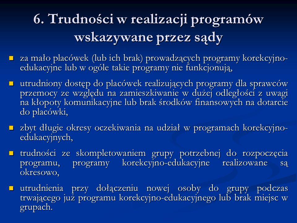 6. Trudności w realizacji programów wskazywane przez sądy za mało placówek (lub ich brak) prowadzących programy korekcyjno- edukacyjne lub w ogóle tak