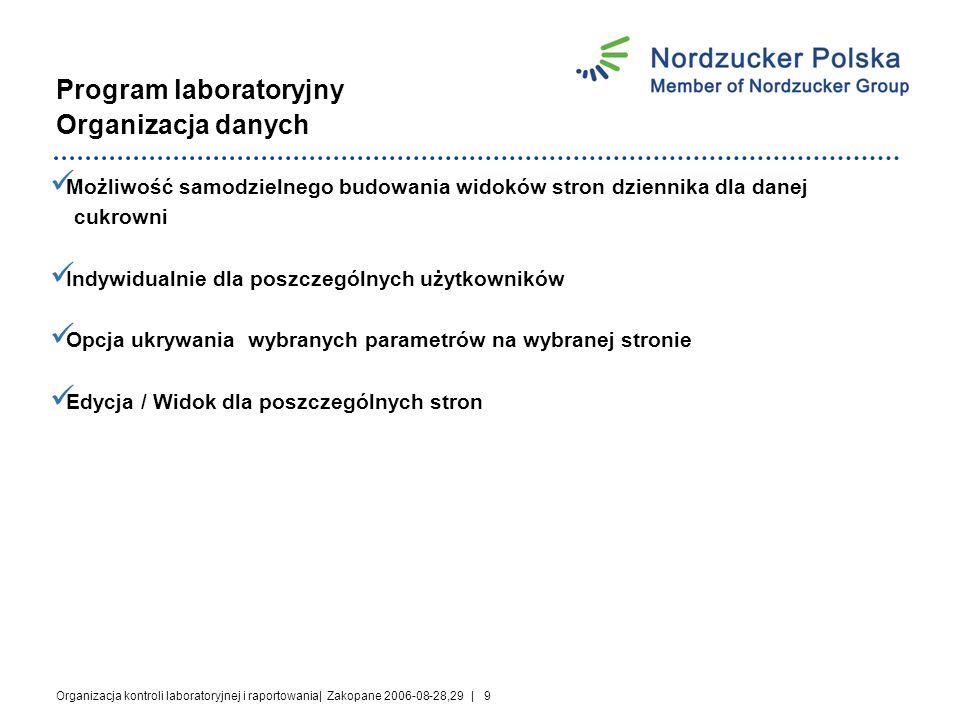 Organizacja kontroli laboratoryjnej i raportowania| Zakopane 2006-08-28,29 | 20 Dziękuję za uwagę!