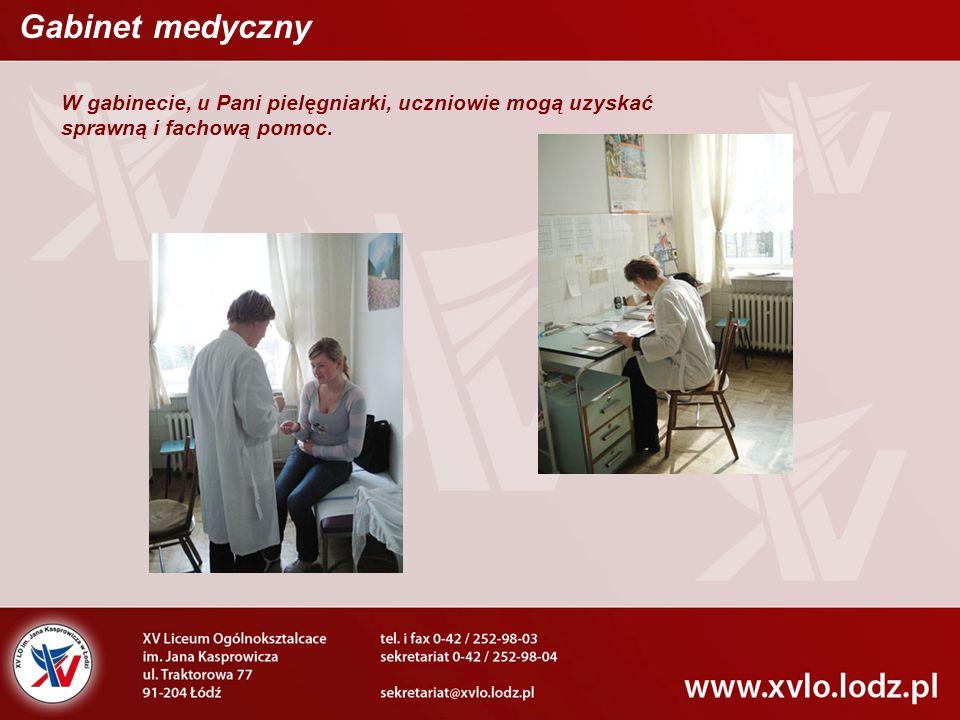 Gabinet medyczny W gabinecie, u Pani pielęgniarki, uczniowie mogą uzyskać sprawną i fachową pomoc.