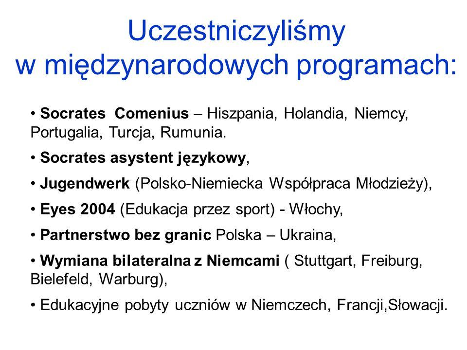 Uczestniczyliśmy w międzynarodowych programach: Socrates Comenius – Hiszpania, Holandia, Niemcy, Portugalia, Turcja, Rumunia. Socrates asystent języko