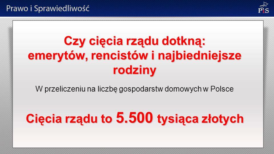 Czy cięcia rządu dotkną: emerytów, rencistów i najbiedniejsze rodziny W przeliczeniu na liczbę gospodarstw domowych w Polsce Cięcia rządu to 5.500 tysiąca złotych