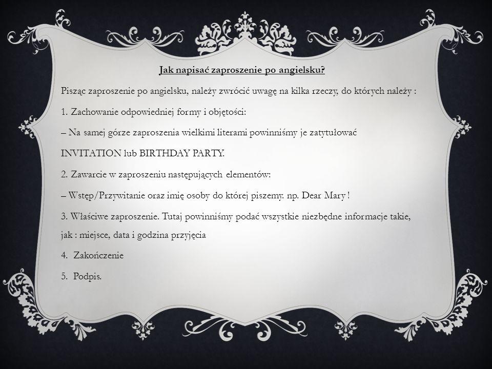 Jak napisać zaproszenie po angielsku.