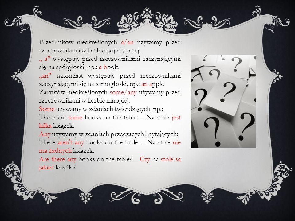 Przedimków nieokreślonych a/an używamy przed rzeczownikami w liczbie pojedynczej.,, a'' występuje przed rzeczownikami zaczynającymi się na spółgłoski, np.: a book.,,an'' natomiast występuje przed rzeczownikami zaczynającymi się na samogłoski, np.: an apple Zaimków nieokreślonych some/any używamy przed rzeczownikami w liczbie mnogiej.
