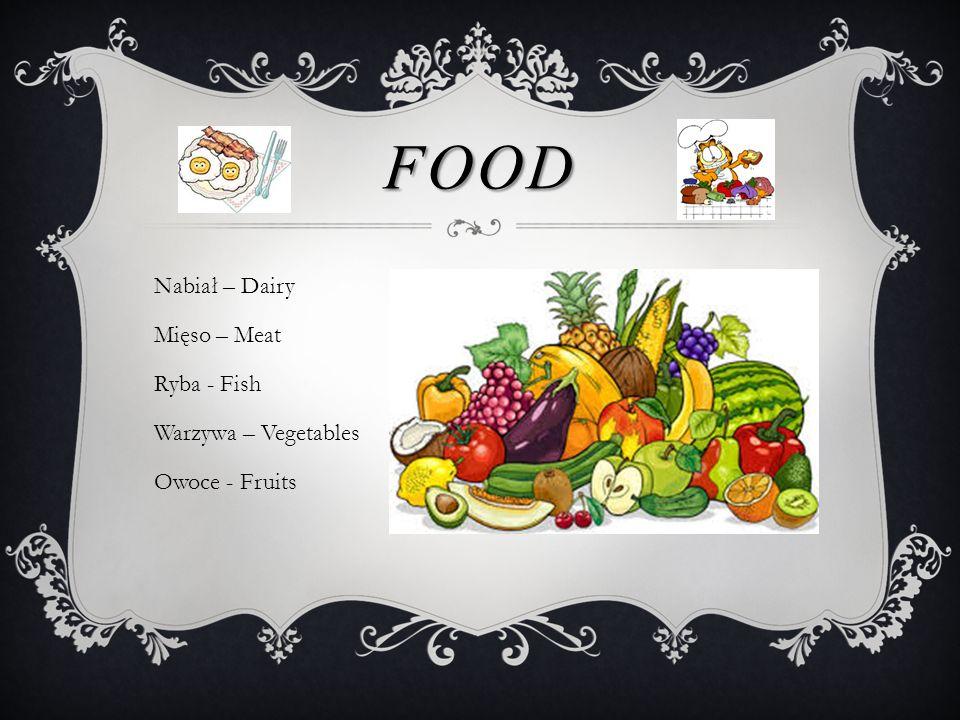FOOD Nabiał – Dairy Mięso – Meat Ryba - Fish Warzywa – Vegetables Owoce - Fruits