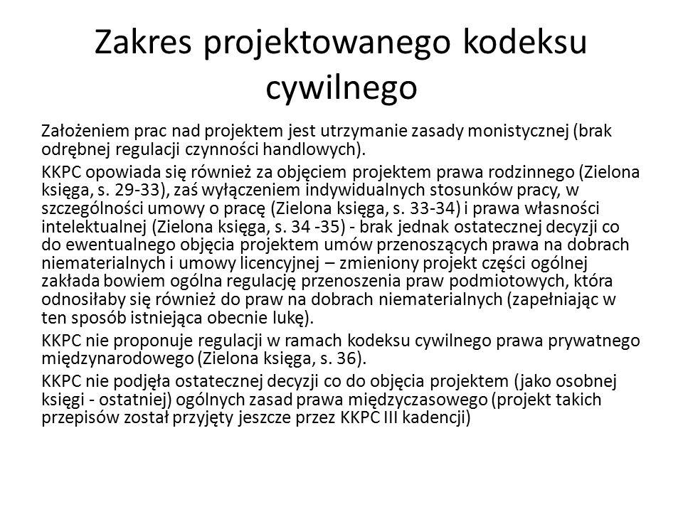 Zakres projektowanego kodeksu cywilnego Założeniem prac nad projektem jest utrzymanie zasady monistycznej (brak odrębnej regulacji czynności handlowych).