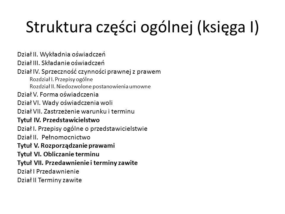 Struktura części ogólnej (księga I) Dział II.Wykładnia oświadczeń Dział III.