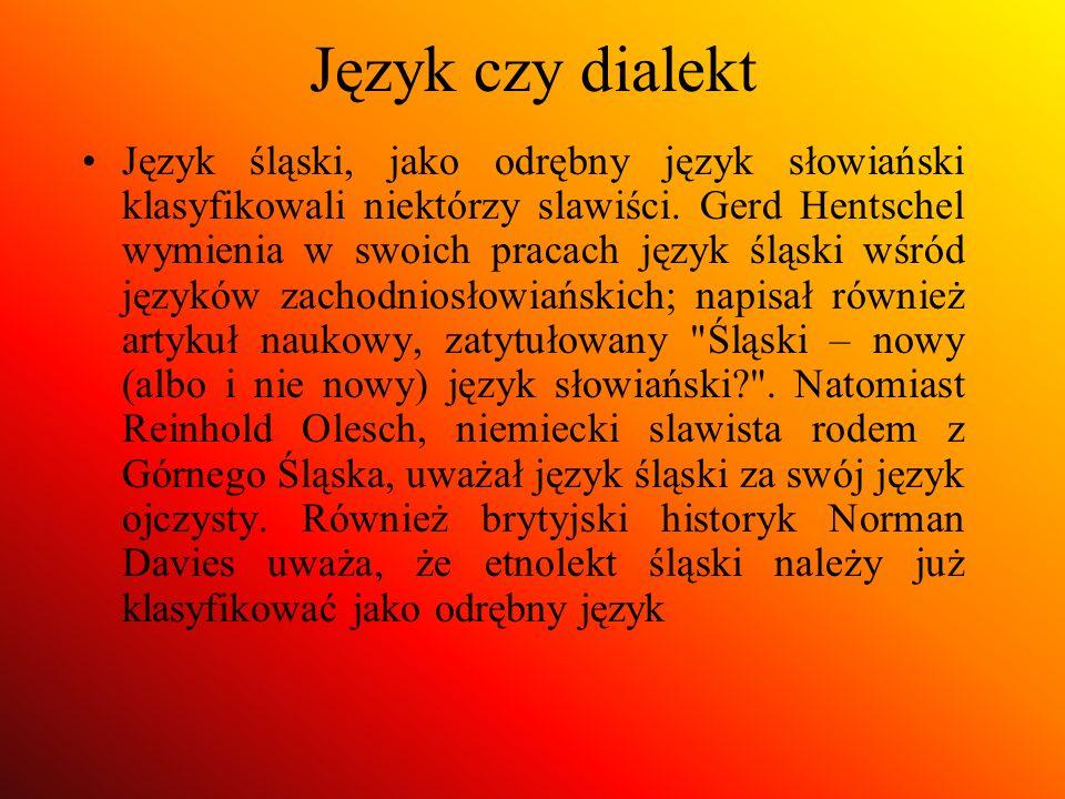 Język czy dialekt Język śląski, jako odrębny język słowiański klasyfikowali niektórzy slawiści. Gerd Hentschel wymienia w swoich pracach język śląski