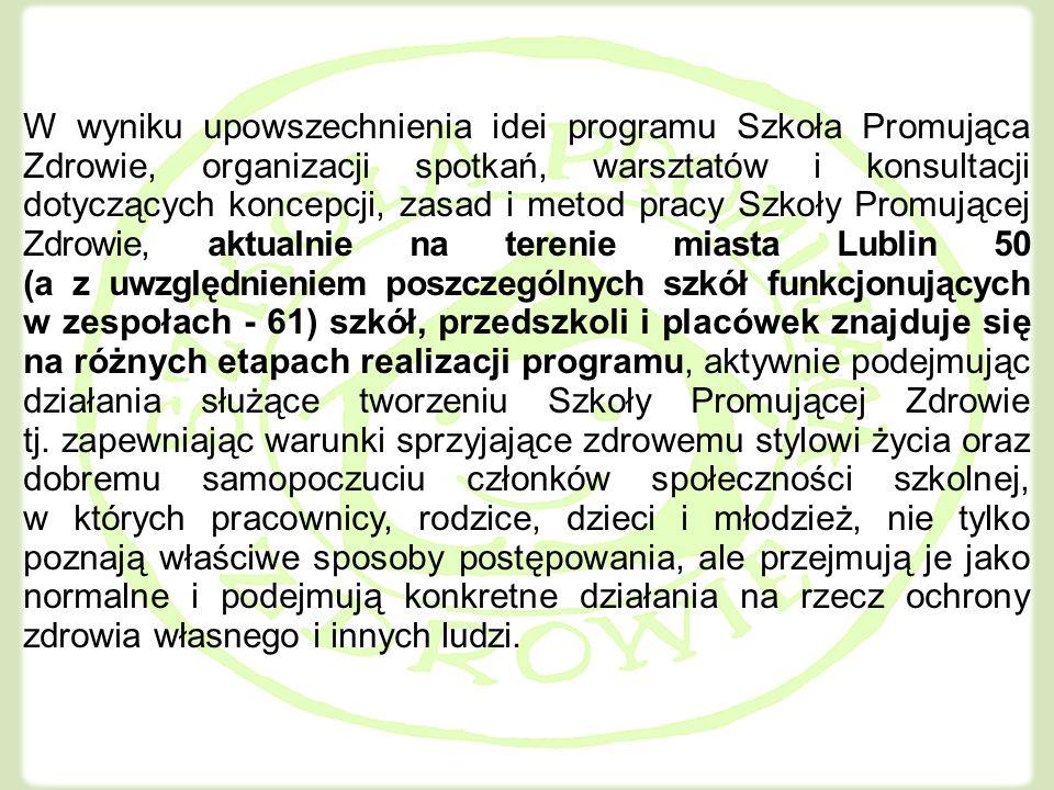 Kliknij, aby edytować style wzorca tekstu Drugi poziom Trzeci poziom Czwarty poziom Piąty poziom W wyniku upowszechnienia idei programu Szkoła Promująca Zdrowie, organizacji spotkań, warsztatów i konsultacji dotyczących koncepcji, zasad i metod pracy Szkoły Promującej Zdrowie, aktualnie na terenie miasta Lublin 50 (a z uwzględnieniem poszczególnych szkół funkcjonujących w zespołach - 61) szkół, przedszkoli i placówek znajduje się na różnych etapach realizacji programu, aktywnie podejmując działania służące tworzeniu Szkoły Promującej Zdrowie tj.