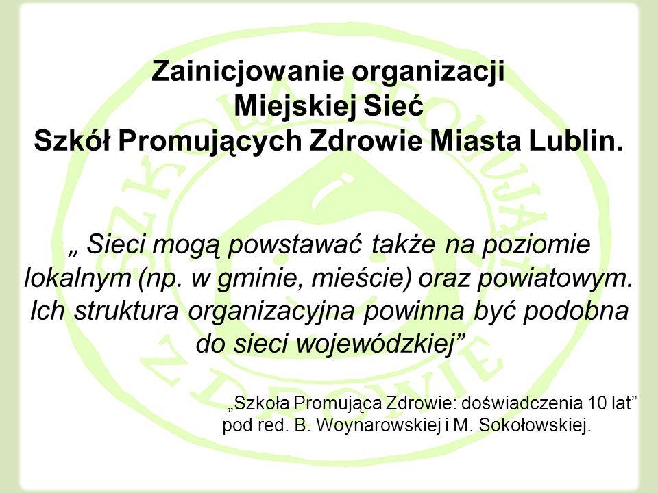 Zainicjowanie organizacji Miejskiej Sieć Szkół Promujących Zdrowie Miasta Lublin.