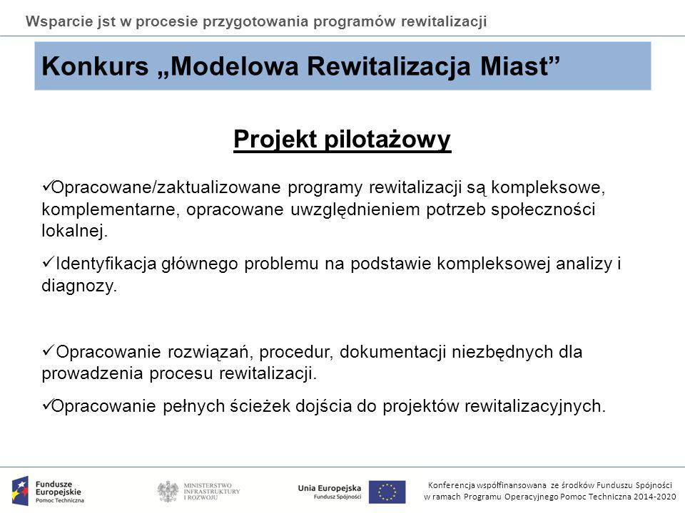Konferencja współfinansowana ze środków Funduszu Spójności w ramach Programu Operacyjnego Pomoc Techniczna 2014-2020 Wsparcie jst w procesie przygotow