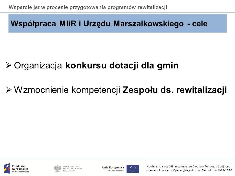 Konferencja współfinansowana ze środków Funduszu Spójności w ramach Programu Operacyjnego Pomoc Techniczna 2014-2020 Wsparcie jst w procesie przygotowania programów rewitalizacji Konkurs dotacji  Konkurs zostanie przeprowadzony przez Urząd Marszałkowski;  Konkurs skierowany jest do gmin miejskich i miejsko- wiejskich;  Wybrane gminy uzyskają środki na opracowanie lub aktualizację programu rewitalizacji;  Kwota środków przeznaczona na dotację dla gmin to kwota ponad 3,7 mln zł;  Maksymalna wartość projektu to 300 000 zł.