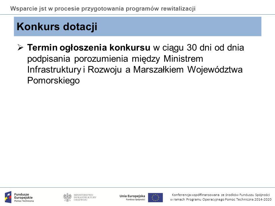 Konferencja współfinansowana ze środków Funduszu Spójności w ramach Programu Operacyjnego Pomoc Techniczna 2014-2020 Wsparcie jst w procesie przygotowania programów rewitalizacji Zespół ds.