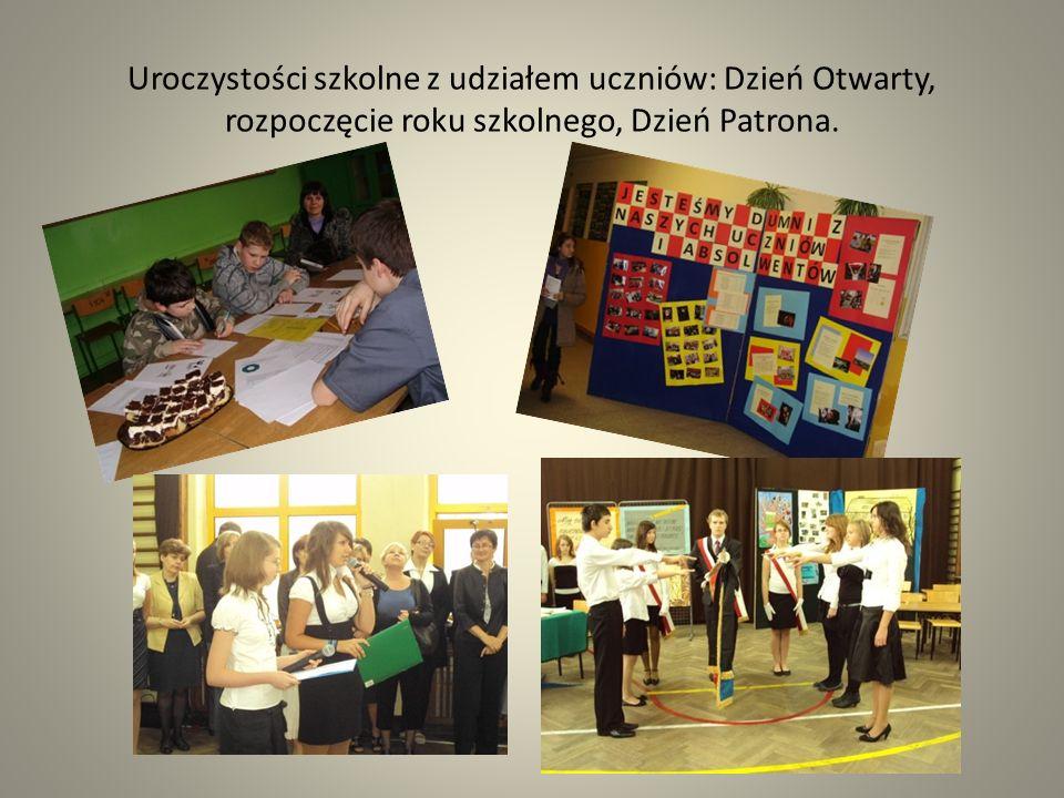 Uroczystości szkolne z udziałem uczniów: Dzień Otwarty, rozpoczęcie roku szkolnego, Dzień Patrona.